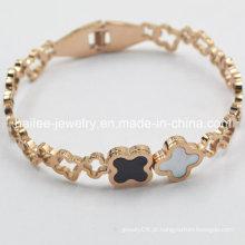 Flor de aço inoxidável banhado a ouro pulseira de ouro