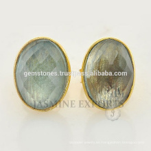 Venta al por mayor Oro Vermeil 925 de plata esterlina Round Labradorite Gemstone Stud Earrings