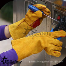 SRSAFETY High quality cow split leather safety welding gloves in factory