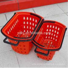 Супермаркета пластичная хозяйственная Корзина Завальцовки с колесами