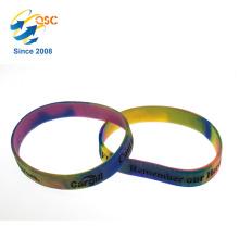 Bracelet en silicone promotionnel arc-en-ciel chaud avec logo gravé