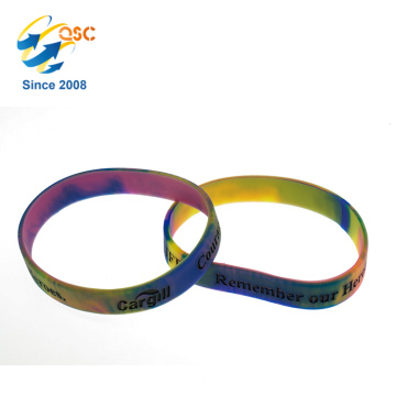 Hot rainbow promotional silicone wristband with engraved logo