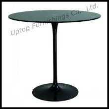 Elegant Black Glass Eero Saarinen Tulip Table (SP-GT348)