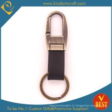 Porte-clés en cuir plaqué or antique personnalisé de haute qualité au prix usine