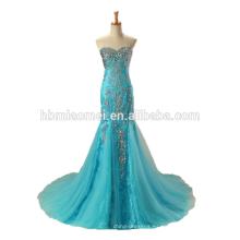 2017 vestido de boda del cordón negro / azul vestido de novia largo al por mayor de alta calidad