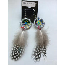 Dreamcatcher Fabric Feather Earrings with Metal