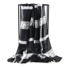 La bufanda de seda de la impresión del cordón de la gasa compra directo de la fábrica de China