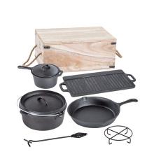 7PCS Pan & Pot Camping BBQ Cast Iron Cookware Set