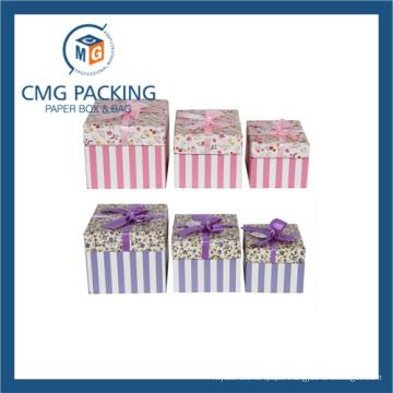 Pink Elegant Flower Printing Hardboard Paper Gift Box