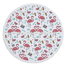 Flamants roses motif épaisse éponge serviette de plage ronde avec franges glands Tapestriesupplier