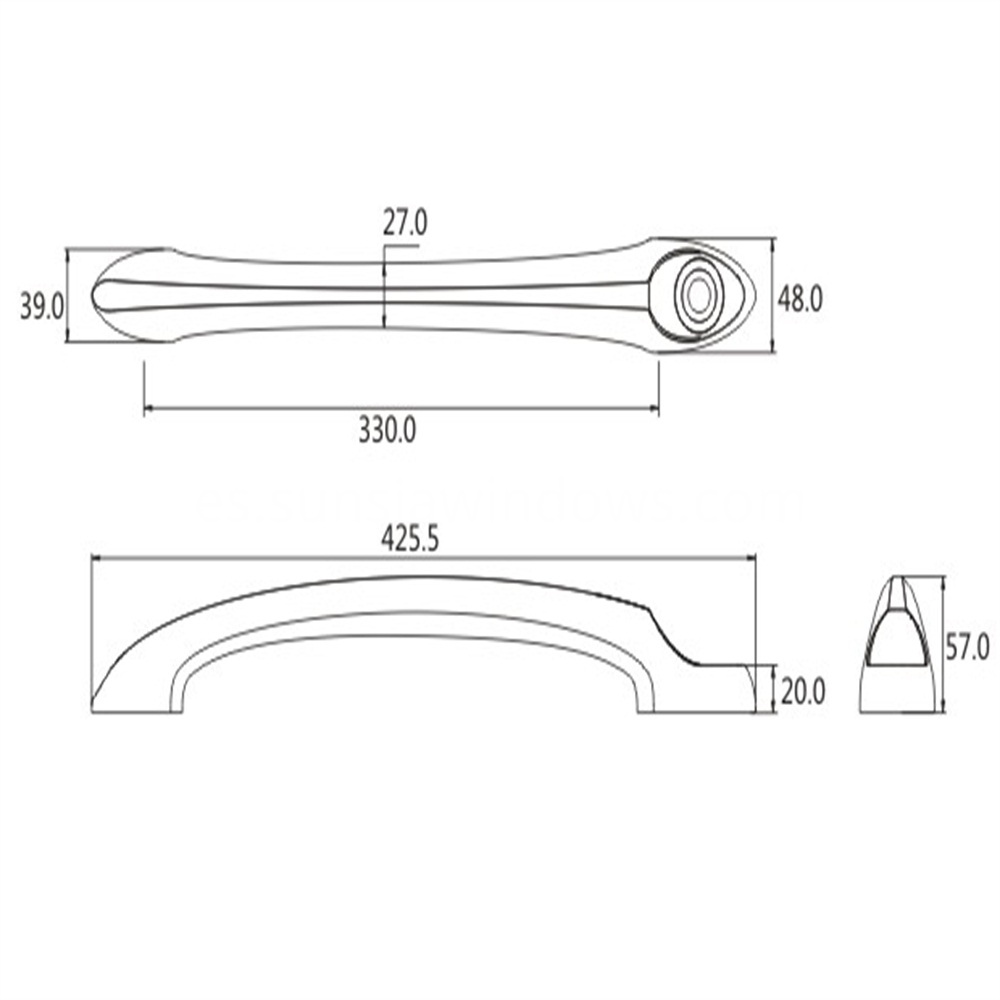 high quality aluminum sliding door pull handle drawing