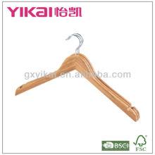 Conjunto de cabides de camisa de bambu plana de 3pcs com U entalhes