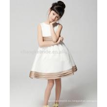 Bebé Niños vestido de comunión blanco Una línea de longitud de la rodilla Satén Vestidos de niña de flor