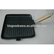 Quadratische / rechteckige Gusseisen-Grillpfanne mit faltbarem / abnehmbarem Holzgriff