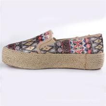 Zapatos de lona de los zapatos de las mujeres con la suela de goma Snc-28065 de la cuerda del cáñamo