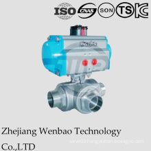 Air Actuated 3-Way Welding Floating Ball Valve with Penmatic Actuator