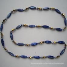 Largo brillante concha perla y collar de perlas de agua dulce