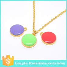 Personalized Sealife Initial Gold Pastel Enamel Disc Necklace for Girls
