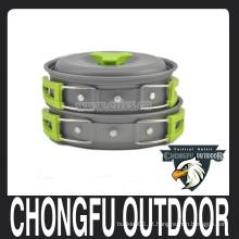 New 2016 Green pan e pote definido para equipamentos de camping, caminhadas sobrevivência, mochila, piquenique