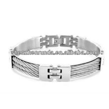 Nuevo producto Acero inoxidable 11mm Triple Cable Link Bracelet for mens