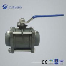 Vanne à bille en acier inoxydable en acier au carbone de 3PC avec connexion Bw