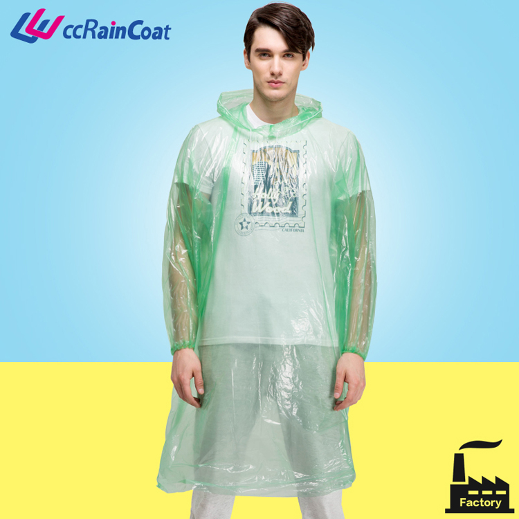 Factory manufacture disposable pe adult rain poncho full length raincoat