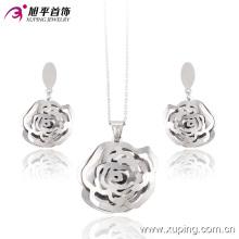 Conjunto de joyería de moda Rhoium Folwer en forma de corazón de acero inoxidable -63655