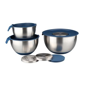 Tazón para mezclar con tapas para utensilios de cocina