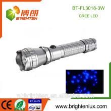 Alibaba Hot Sale Portable High Bright UV Animaux Détecteur de taches d'urine Blacklight 395-410nm 3w lampe torche uv pour Scorpion Hunter
