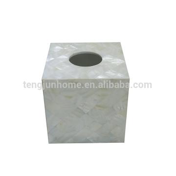 Perle de coquille mère coquille d'eau douce carré blanc total boîte de serviettes sanitaires