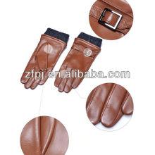 Hombres estilo de la moda de color marrón de invierno de piel de oveja de cuero conductor guante