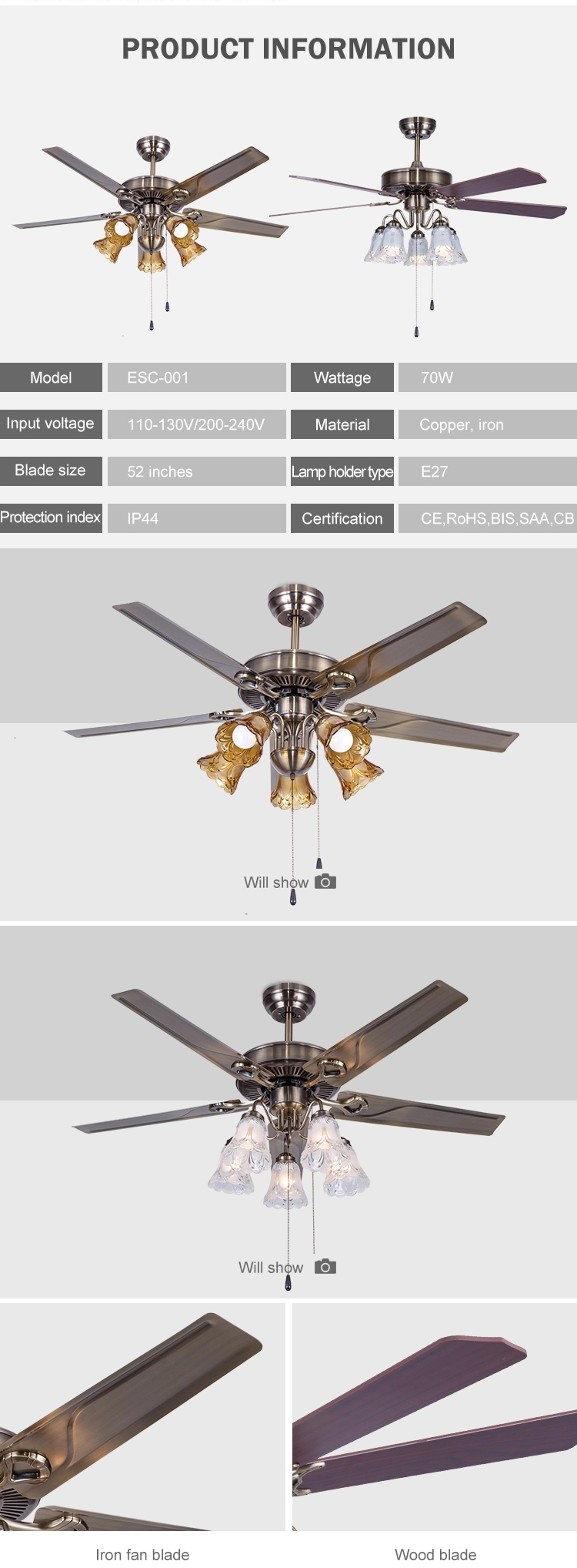 Ceiling fan with light household