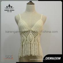 Fringed Crochet Crop Top Modest Swimwear