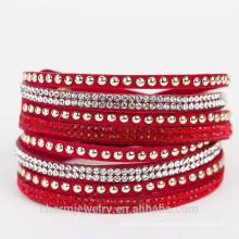 Bracelet en cuir warp fait main Bracelet bijoux à la mode réglable strass bangles femmes 2015 BCR030