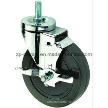 4inch Biaxial Black Rubber Gewinde Caster Räder mit Bremse