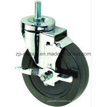 Rodas de rodízio de borracha preta biaxial de 4 polegadas com freio