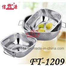3pcs quadrado de aço inoxidável punho duplo cesto multifunções (FT-1209)
