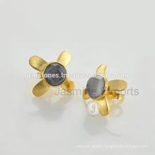 Vermeil Gold Gemstone Stud Earrings Wholesale 925 Sterling Silver Earrings In Gemstone Jewelry Supplier