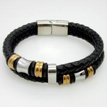 Classique Double couche à la main en cuir tissé homme Bracelets mode nouveau aimant fermoir bon acier Bracelet