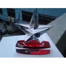 Regalos empresariales hechos a mano Five Star Custom Crystal Trophy