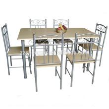 Conjunto de mesa de jantar em madeira com moldura de aço