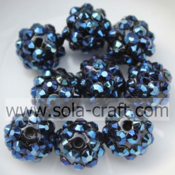 Top Sale Fashion Dark Blue Solid Resin Rhinestone Round Beads 10*12MM Jewelry