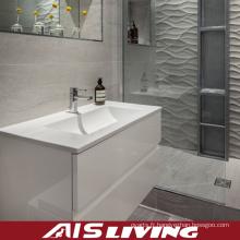 Vanité de meubles de salle de bains de laque à haute brillance d'une seule pièce (AIS-B009)