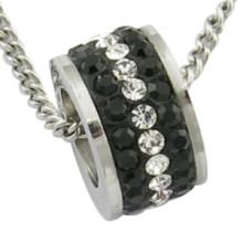 Black Stone Bead CZ Bead Stainless Steel Pendant
