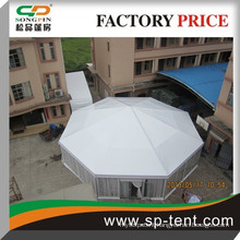 Cheap wholesale decagonal marquee party event tent diagonal 25m tent for 200 people with glass wall