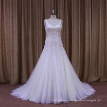 Личного портного Sexy бисером и Плиссированные свадебное платье