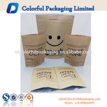 Saco de empacotamento do café feito sob encomenda do papel de embalagem de folha de alumínio da impressão com fechamento da válvula / fecho de correr