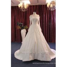 off Shoulder Long Sleeve Satin Bridal Wedding Dresses