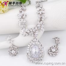 Moda de luxo grande em forma de coração cz cristal ródio conjunto de jóias para o casamento (set-16)