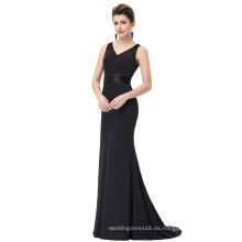 Starzz piso de longitud sin mangas con cuello en V vestido de encaje negro formal ST000083-1